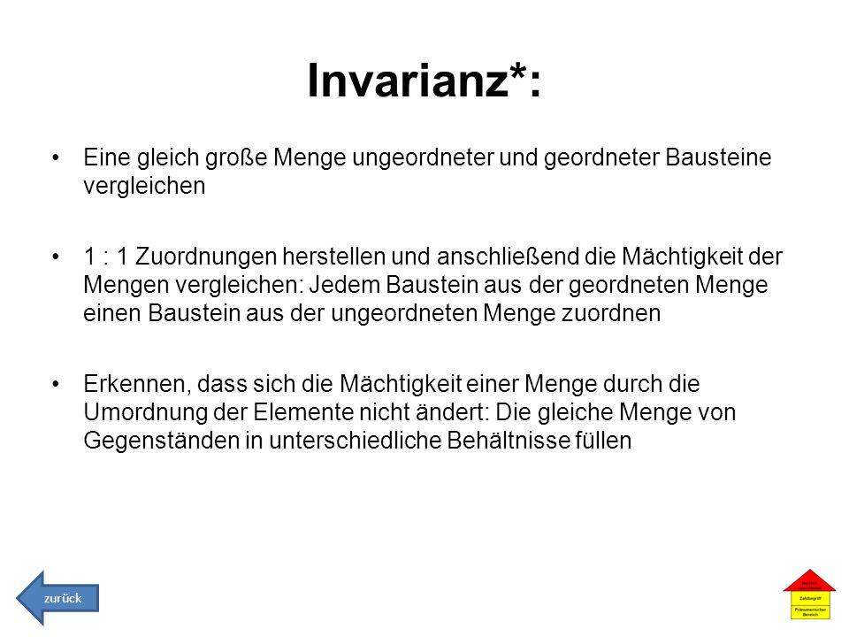 Invarianz*: Eine gleich große Menge ungeordneter und geordneter Bausteine vergleichen.