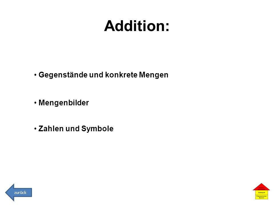 Addition: Gegenstände und konkrete Mengen Mengenbilder