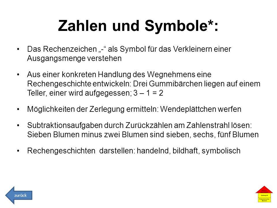 """Zahlen und Symbole*: Das Rechenzeichen """"- als Symbol für das Verkleinern einer Ausgangsmenge verstehen."""