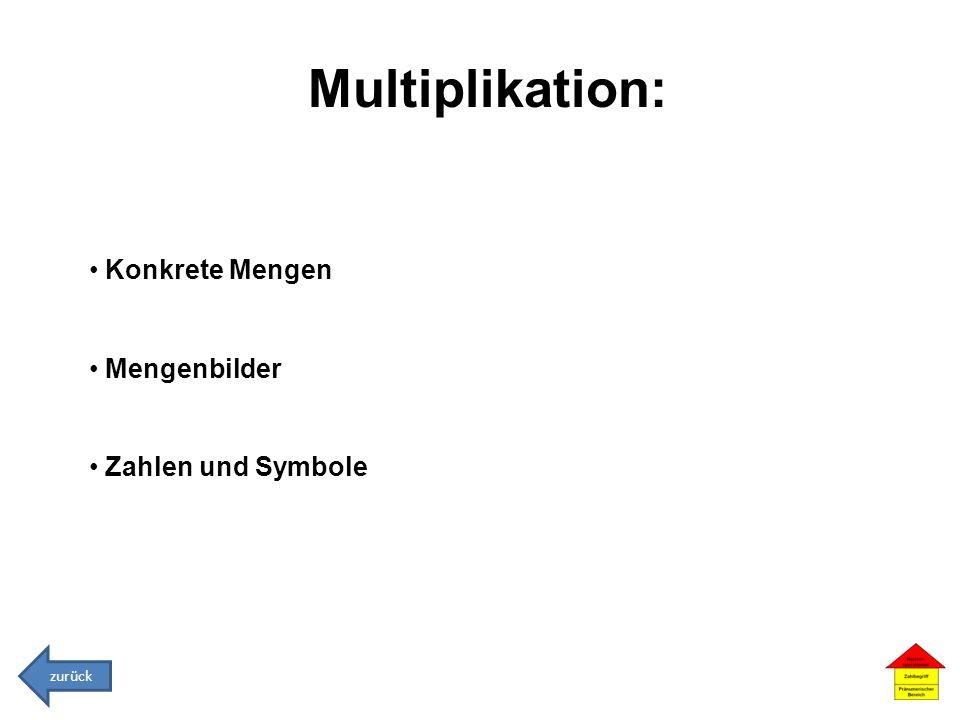 Multiplikation: Konkrete Mengen Mengenbilder Zahlen und Symbole zurück