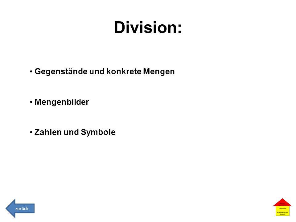 Division: Gegenstände und konkrete Mengen Mengenbilder