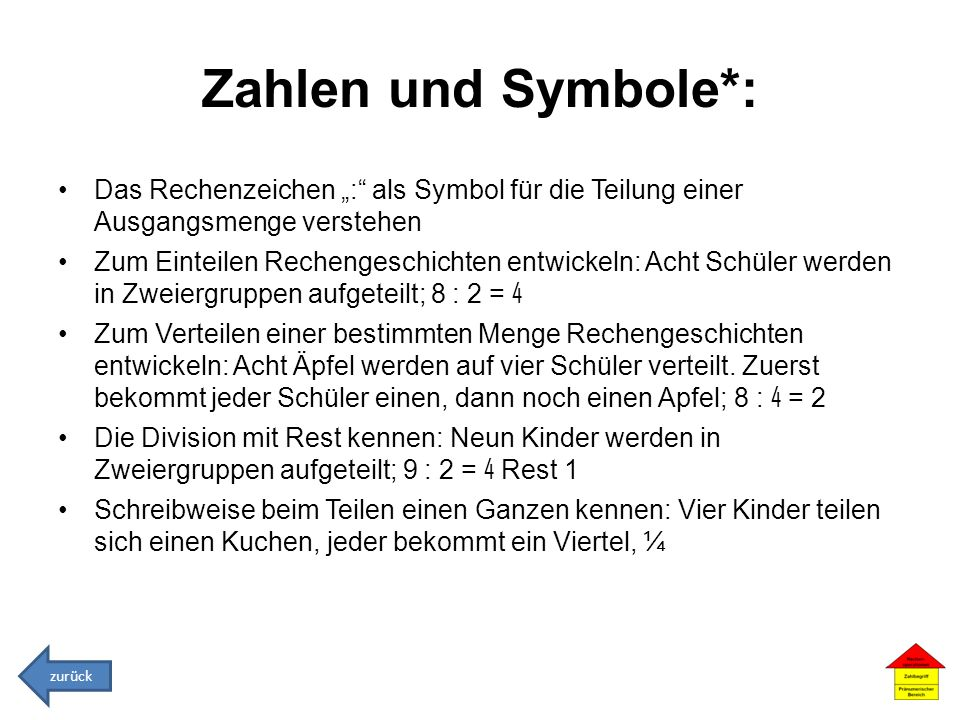 """Zahlen und Symbole*: Das Rechenzeichen """": als Symbol für die Teilung einer Ausgangsmenge verstehen."""