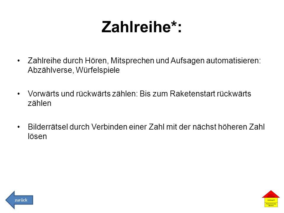 Zahlreihe*: Zahlreihe durch Hören, Mitsprechen und Aufsagen automatisieren: Abzählverse, Würfelspiele.