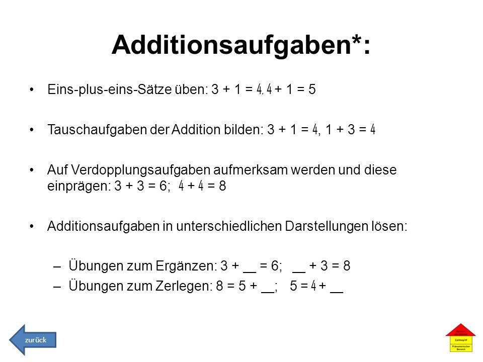 Additionsaufgaben*: Eins-plus-eins-Sätze üben: 3 + 1 = 4, 4 + 1 = 5