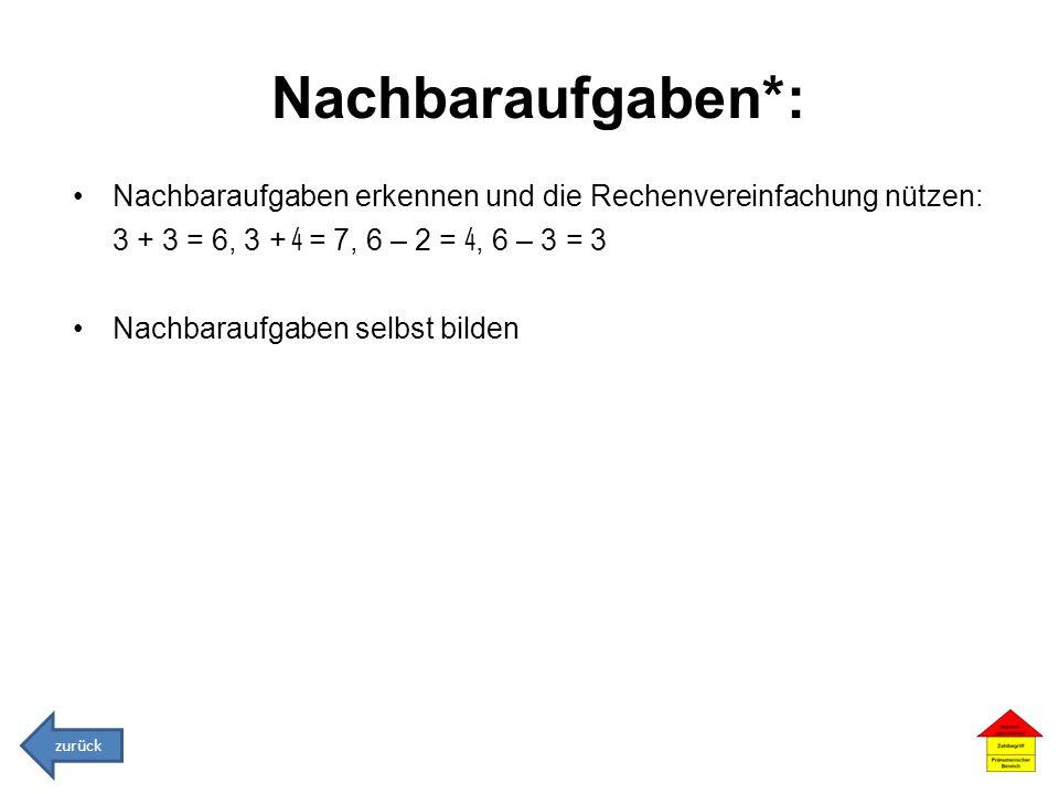Nachbaraufgaben*: Nachbaraufgaben erkennen und die Rechenvereinfachung nützen: 3 + 3 = 6, 3 + 4 = 7, 6 – 2 = 4, 6 – 3 = 3.