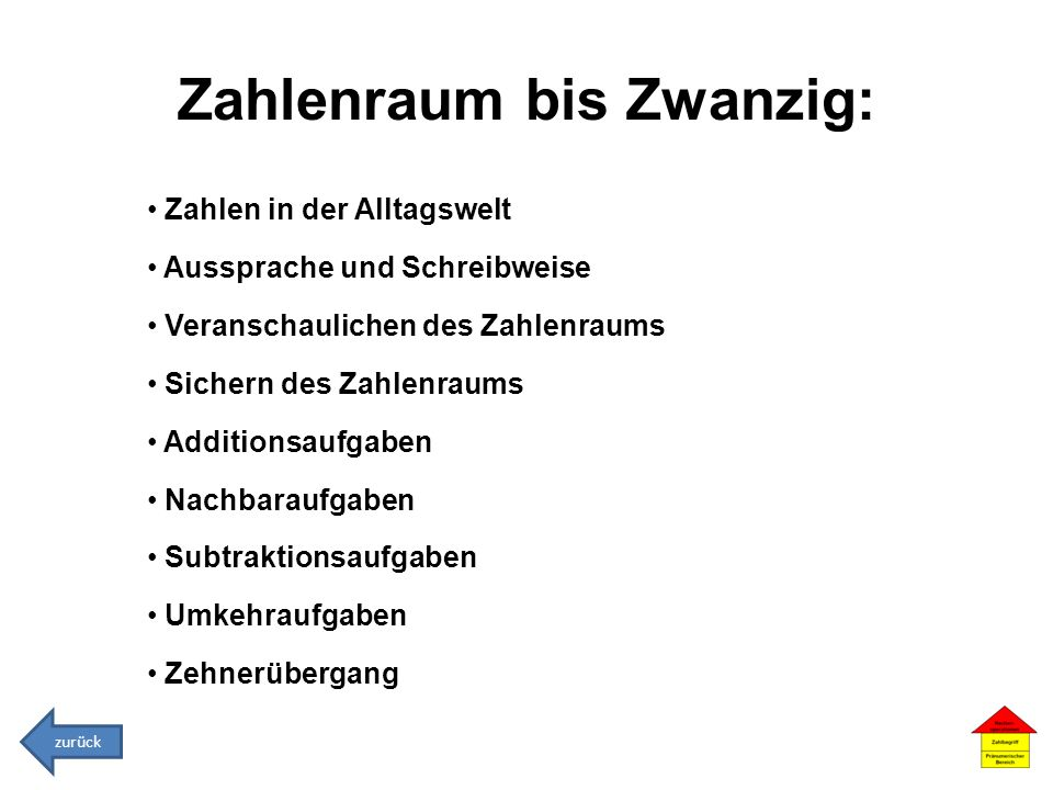 Zahlenraum bis Zwanzig: