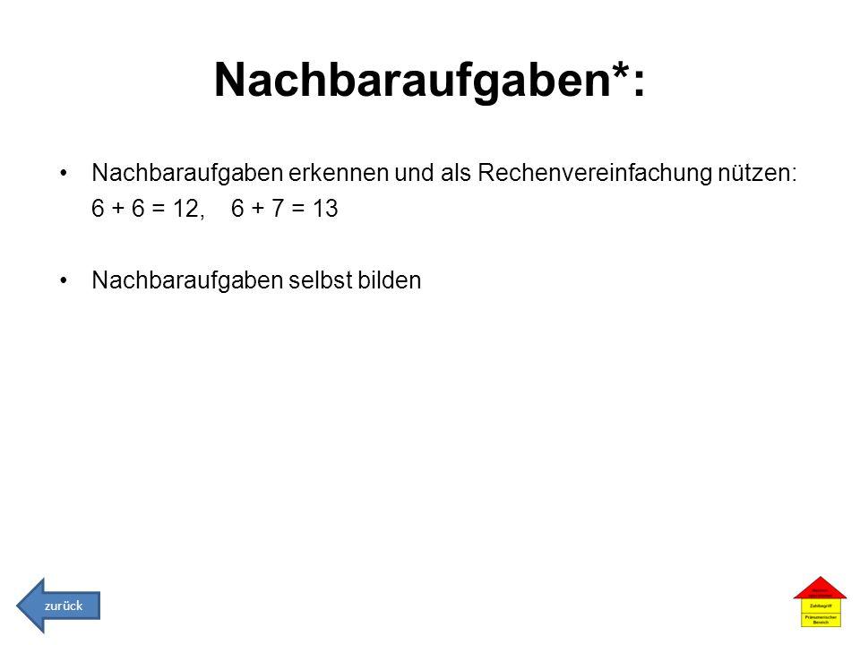 Nachbaraufgaben*: Nachbaraufgaben erkennen und als Rechenvereinfachung nützen: 6 + 6 = 12, 6 + 7 = 13.