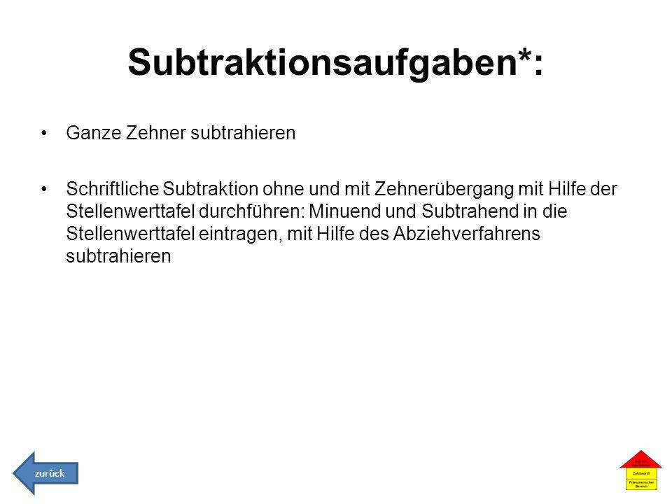 Subtraktionsaufgaben*: