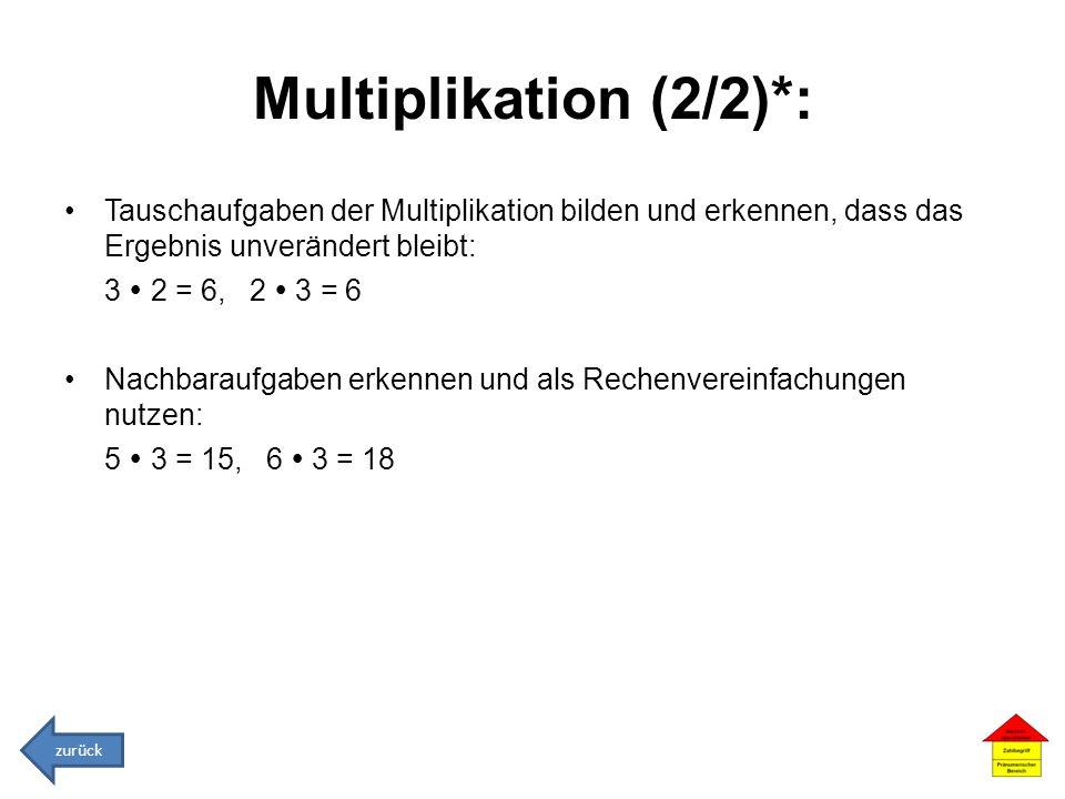 Multiplikation (2/2)*: Tauschaufgaben der Multiplikation bilden und erkennen, dass das Ergebnis unverändert bleibt: