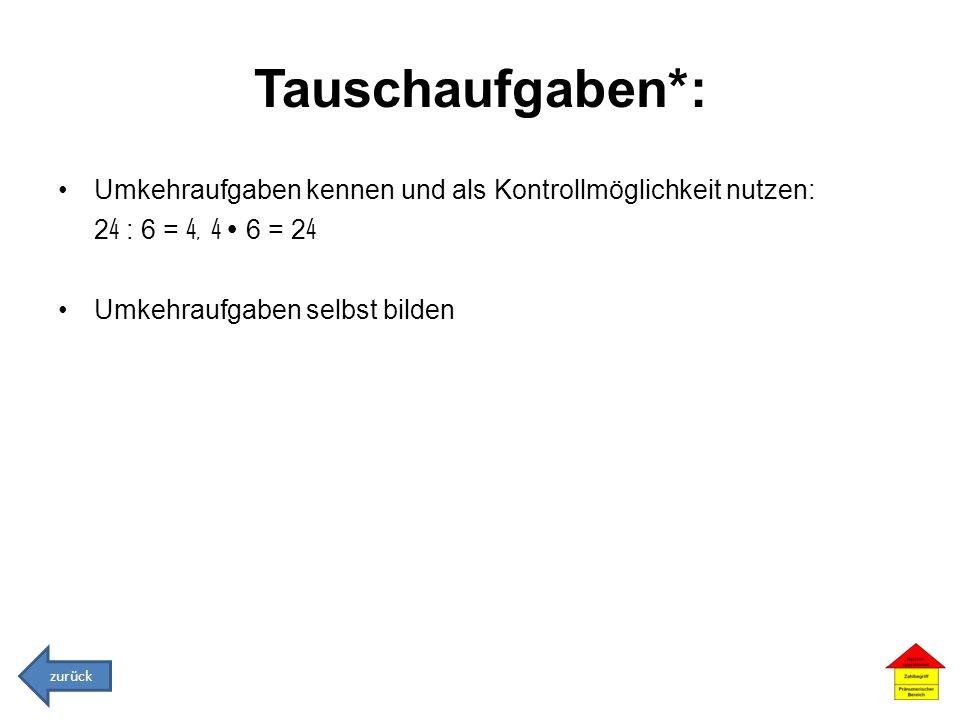 Tauschaufgaben*: Umkehraufgaben kennen und als Kontrollmöglichkeit nutzen: 24 : 6 = 4, 4  6 = 24.