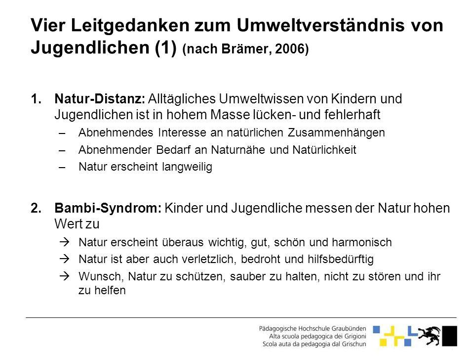 Vier Leitgedanken zum Umweltverständnis von Jugendlichen (1) (nach Brämer, 2006)