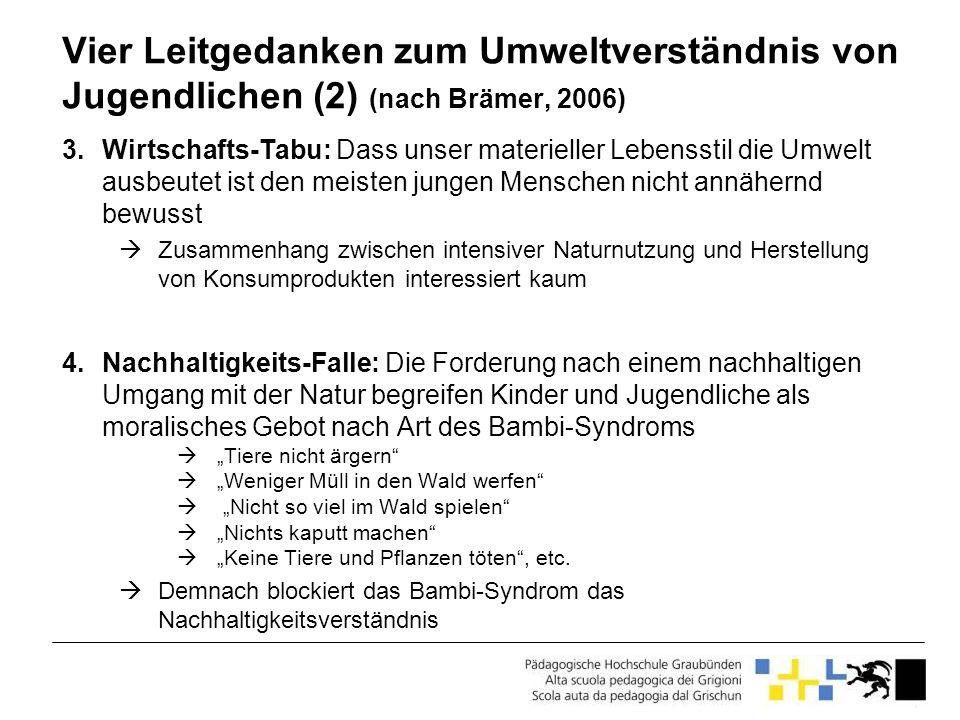 Vier Leitgedanken zum Umweltverständnis von Jugendlichen (2) (nach Brämer, 2006)