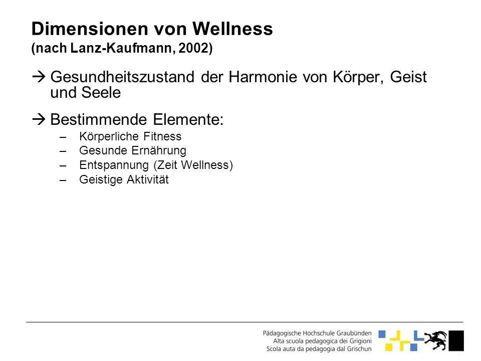 Dimensionen von Wellness (nach Lanz-Kaufmann, 2002)