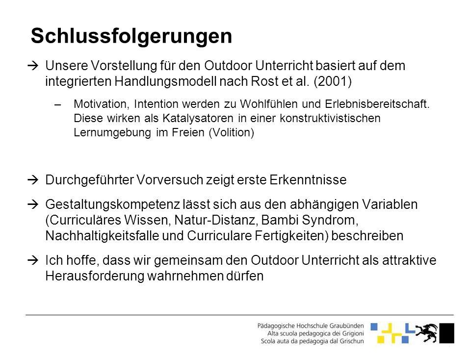 Schlussfolgerungen Unsere Vorstellung für den Outdoor Unterricht basiert auf dem integrierten Handlungsmodell nach Rost et al. (2001)