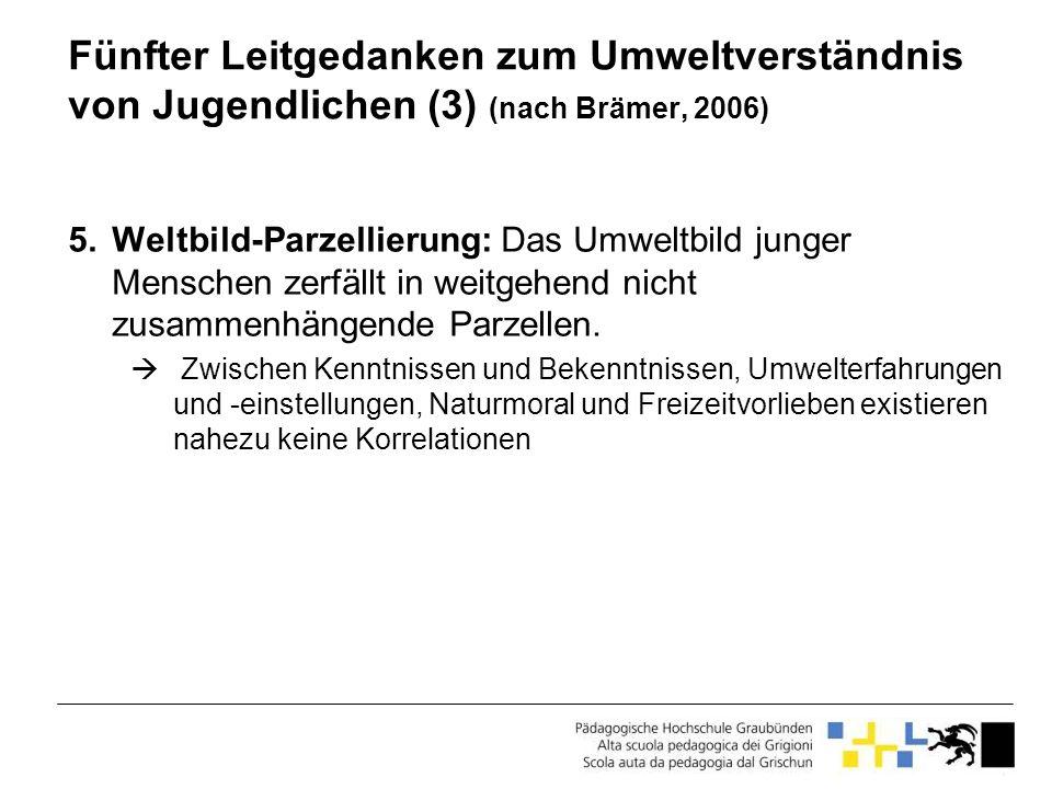 Fünfter Leitgedanken zum Umweltverständnis von Jugendlichen (3) (nach Brämer, 2006)