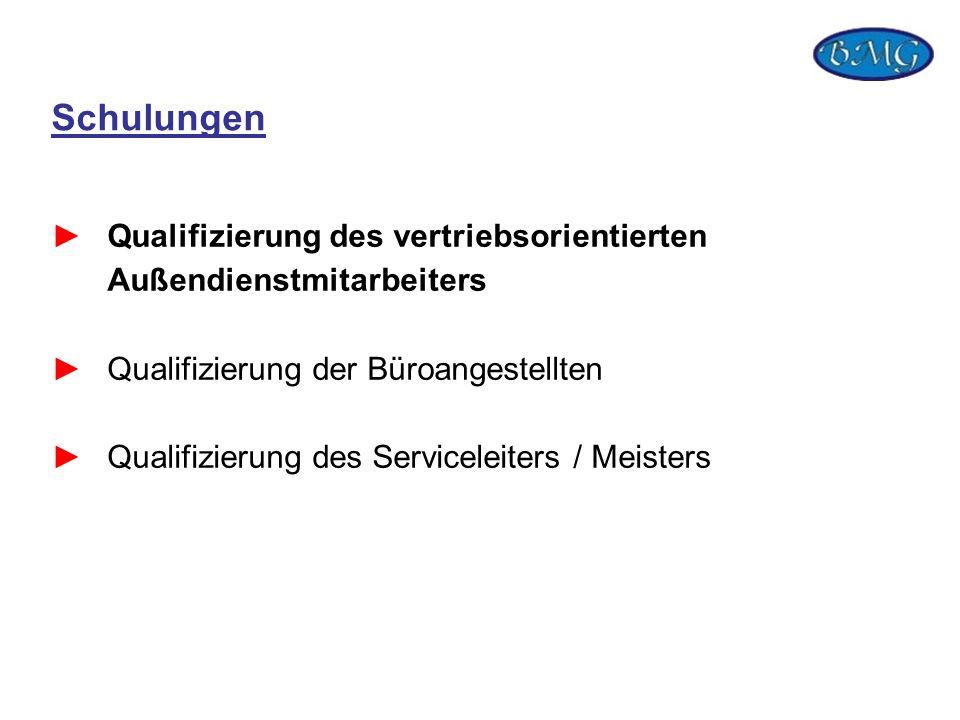 Schulungen Qualifizierung des vertriebsorientierten Außendienstmitarbeiters. Qualifizierung der Büroangestellten.