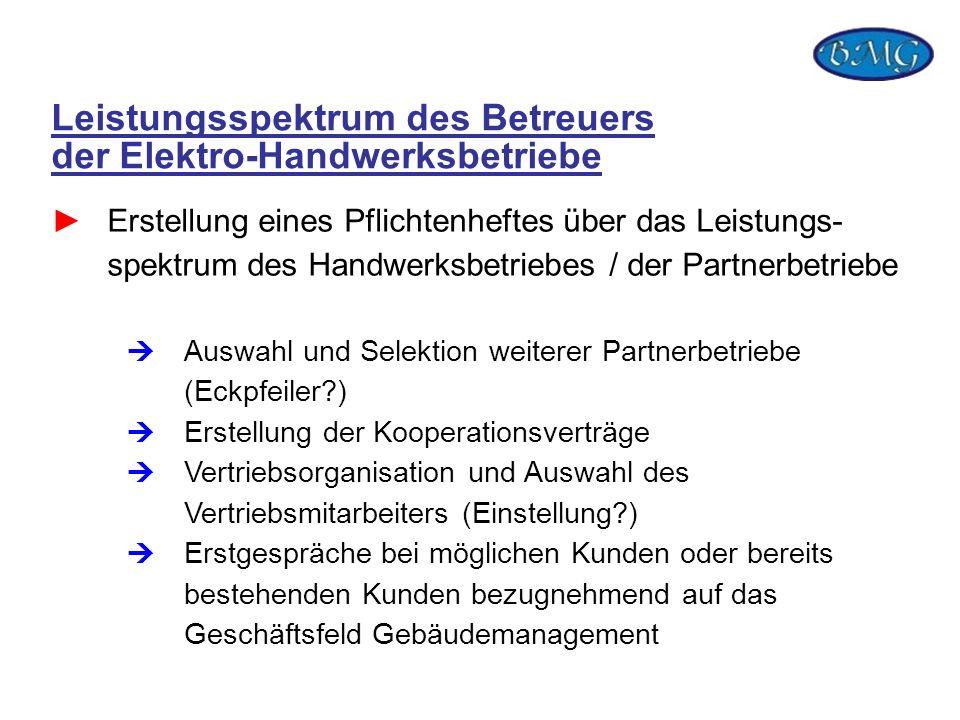 Leistungsspektrum des Betreuers der Elektro-Handwerksbetriebe