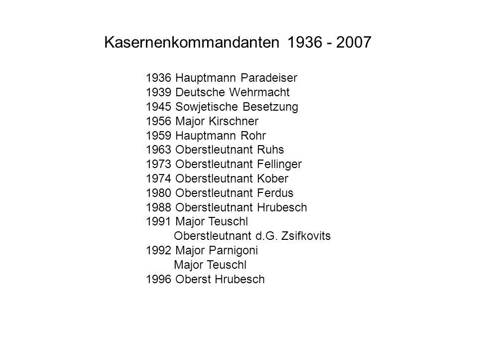 Kasernenkommandanten 1936 - 2007