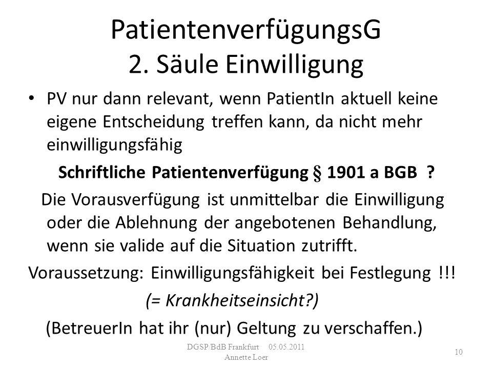 PatientenverfügungsG 2. Säule Einwilligung