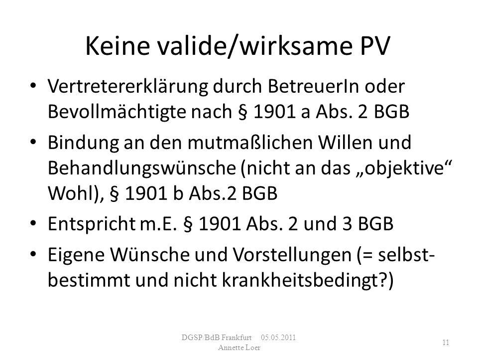 Keine valide/wirksame PV