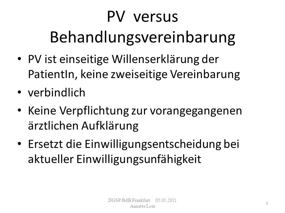 PV versus Behandlungsvereinbarung