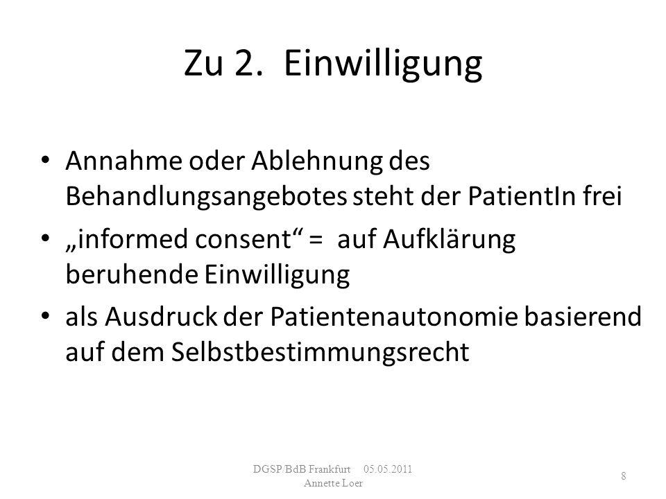DGSP/BdB Frankfurt 05.05.2011 Annette Loer