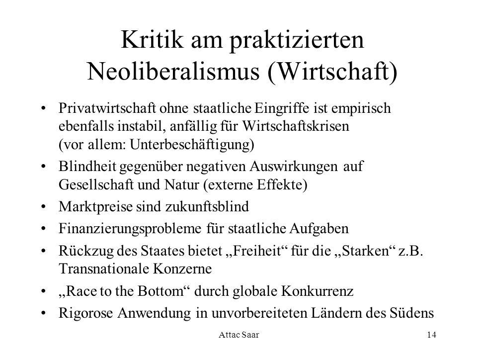 Kritik am praktizierten Neoliberalismus (Wirtschaft)