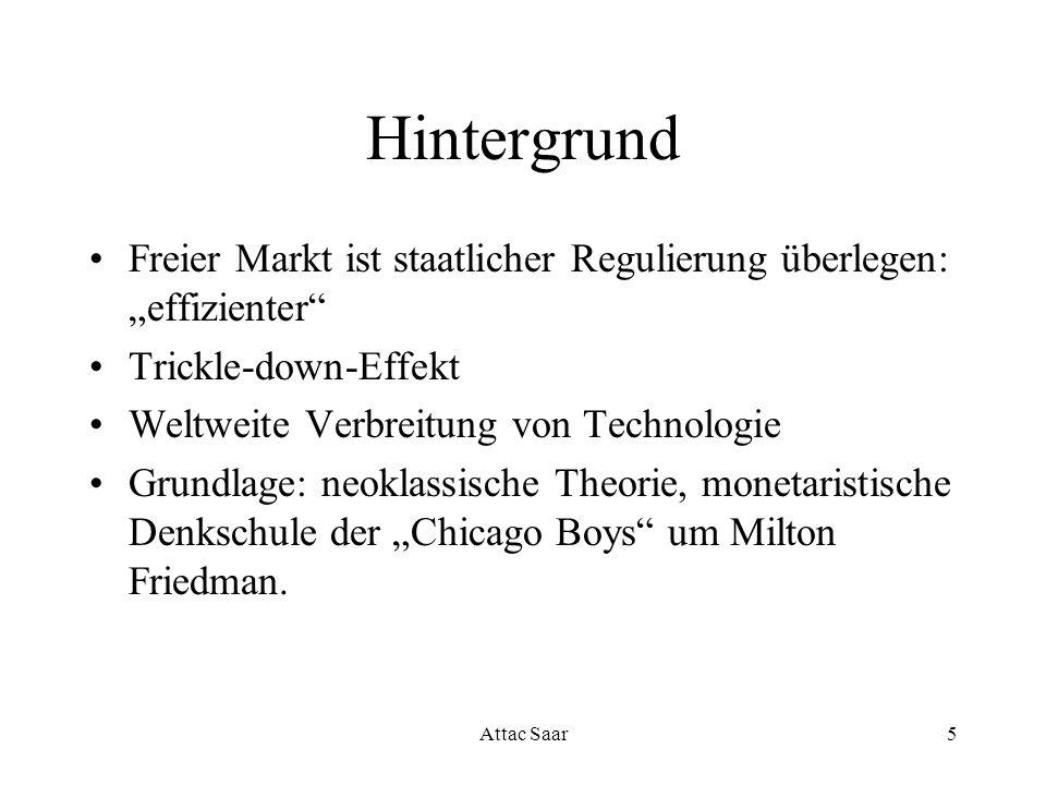 """Hintergrund Freier Markt ist staatlicher Regulierung überlegen: """"effizienter Trickle-down-Effekt."""