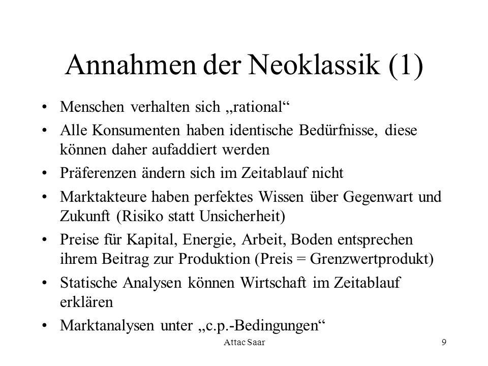 Annahmen der Neoklassik (1)