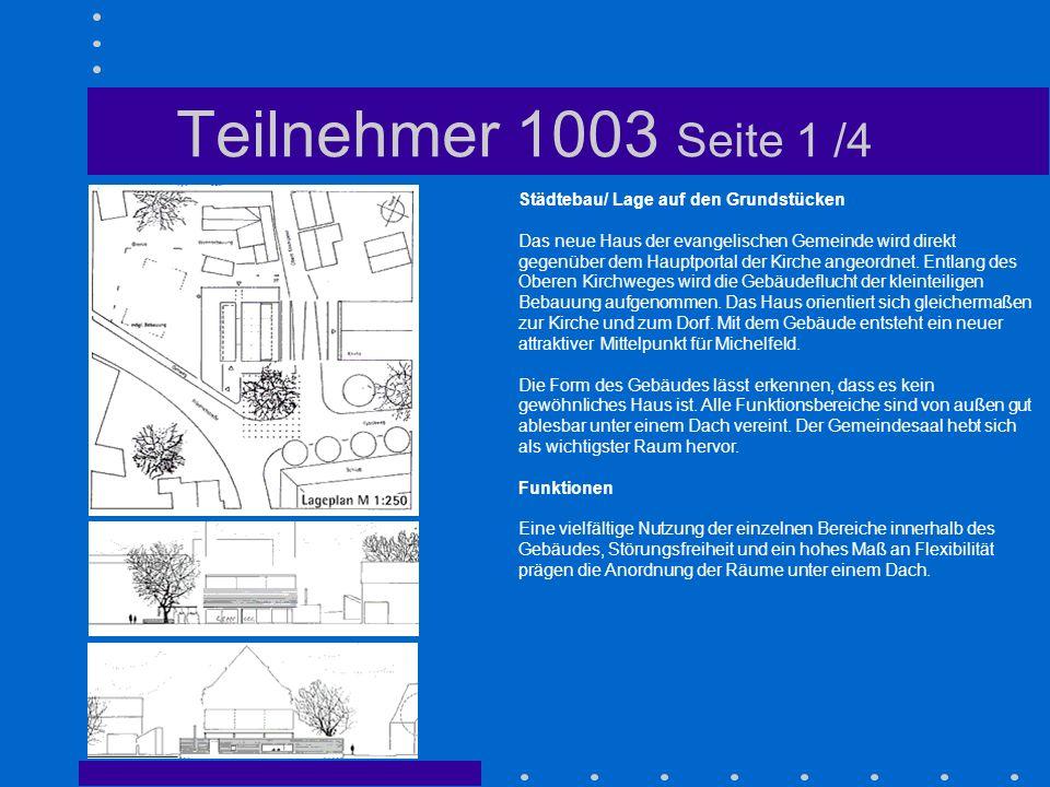 Teilnehmer 1003 Seite 1 /4 Städtebau/ Lage auf den Grundstücken
