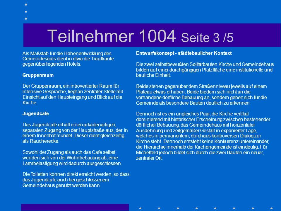 Teilnehmer 1004 Seite 3 /5 Als Maßstab für die Höhenentwicklung des Gemeindesaals dient in etwa die Traufkante gegenüberliegenden Hotels.