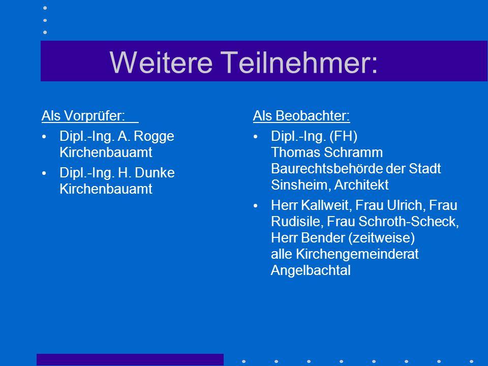 Weitere Teilnehmer: Als Vorprüfer: Dipl.-Ing. A. Rogge Kirchenbauamt