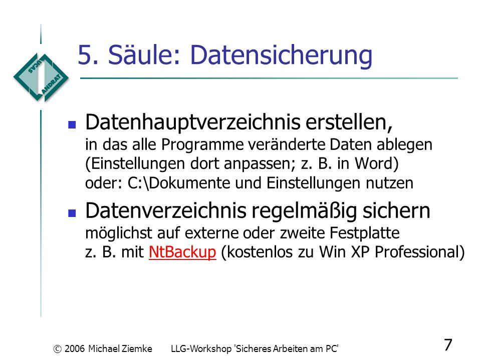 5. Säule: Datensicherung