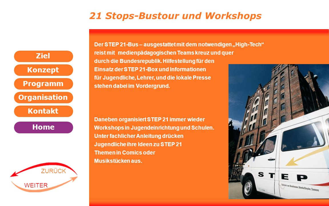 21 Stops-Bustour und Workshops