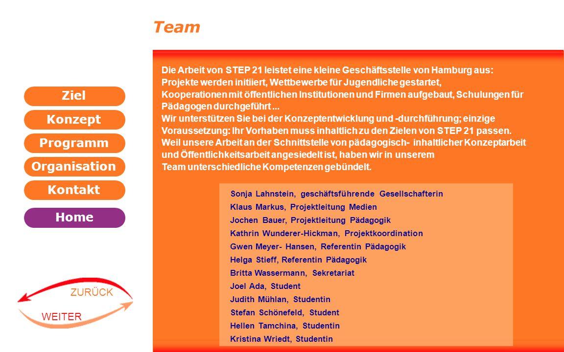 Team Die Arbeit von STEP 21 leistet eine kleine Geschäftsstelle von Hamburg aus: Projekte werden initiiert, Wettbewerbe für Jugendliche gestartet,