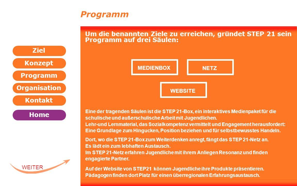 Programm Um die benannten Ziele zu erreichen, gründet STEP 21 sein Programm auf drei Säulen: MEDIENBOX.