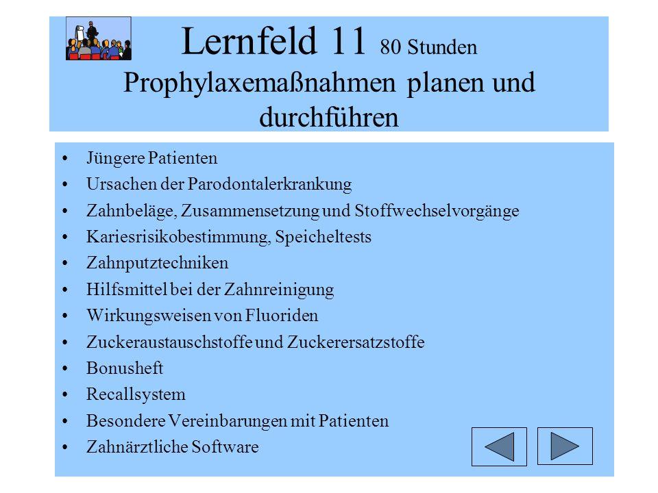 Lernfeld 11 80 Stunden Prophylaxemaßnahmen planen und durchführen