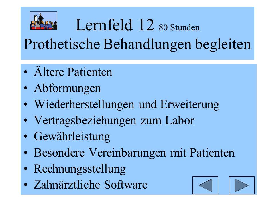 Lernfeld 12 80 Stunden Prothetische Behandlungen begleiten