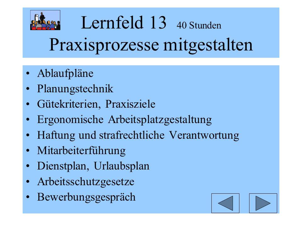 Lernfeld 13 40 Stunden Praxisprozesse mitgestalten