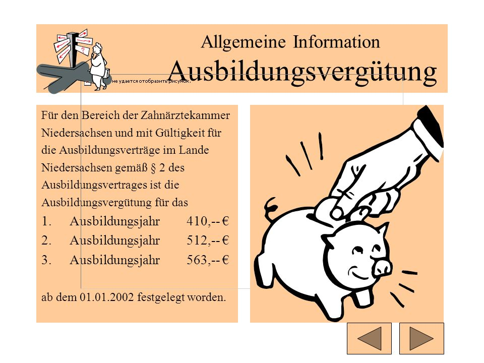 Allgemeine Information Ausbildungsvergütung