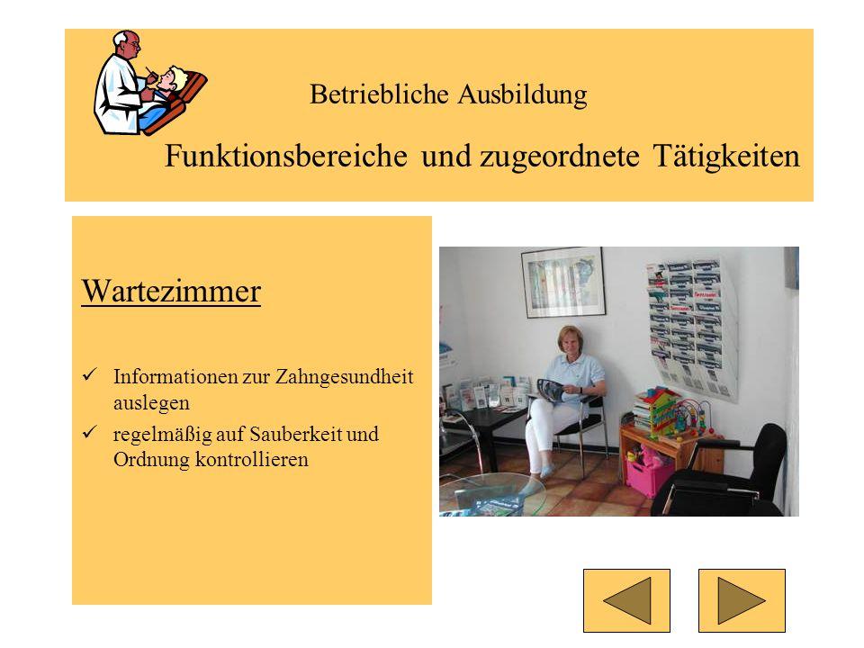 Betriebliche Ausbildung Funktionsbereiche und zugeordnete Tätigkeiten