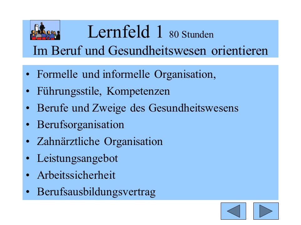 Lernfeld 1 80 Stunden Im Beruf und Gesundheitswesen orientieren