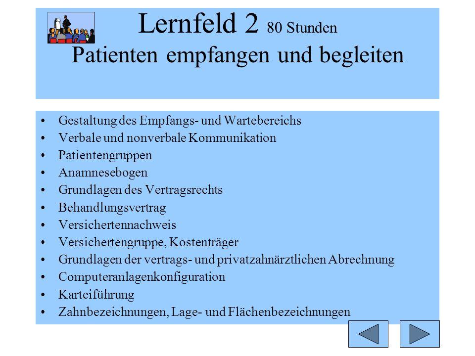 Lernfeld 2 80 Stunden Patienten empfangen und begleiten