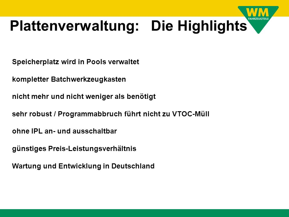 Plattenverwaltung: Die Highlights