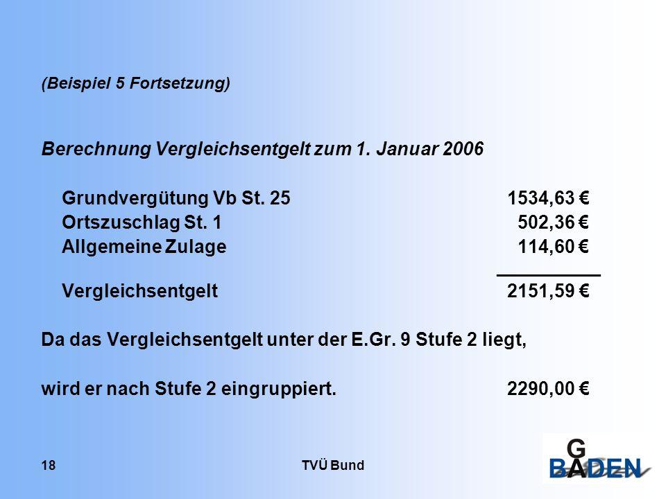 Berechnung Vergleichsentgelt zum 1. Januar 2006