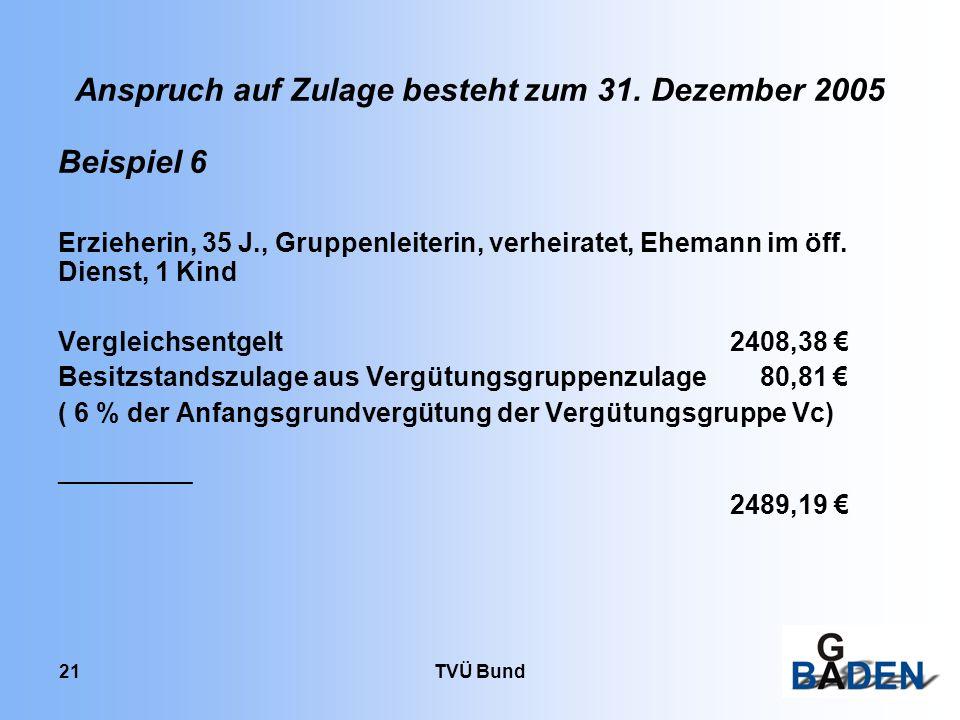 Anspruch auf Zulage besteht zum 31. Dezember 2005