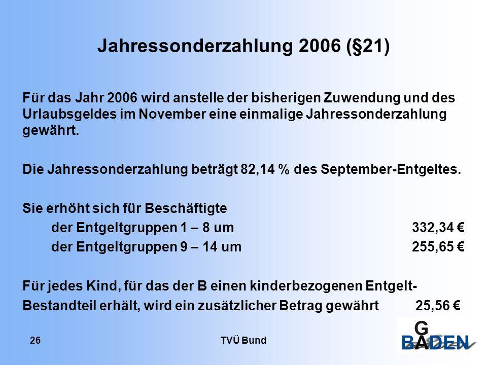 Jahressonderzahlung 2006 (§21)