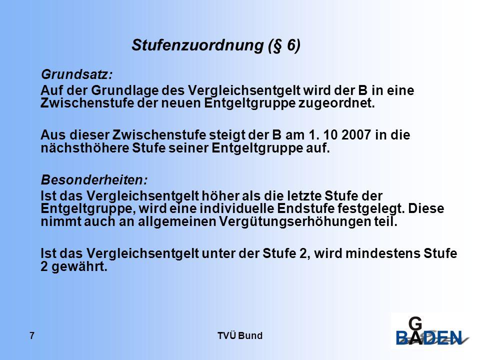 Stufenzuordnung (§ 6) Grundsatz: