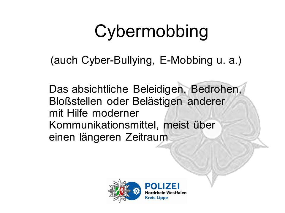(auch Cyber-Bullying, E-Mobbing u. a.)