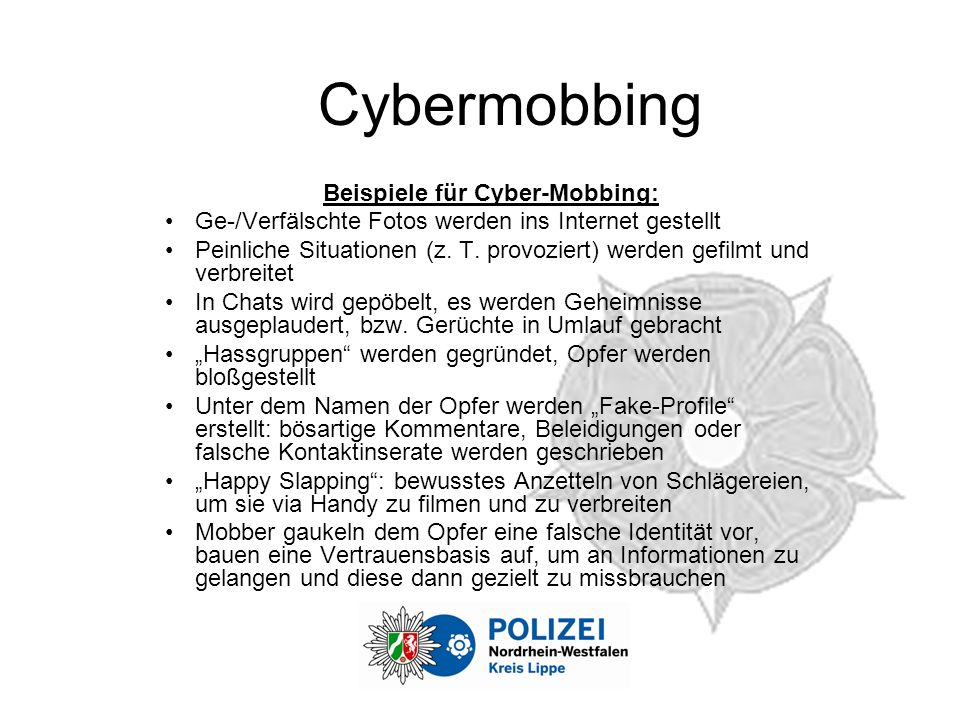 Beispiele für Cyber-Mobbing: